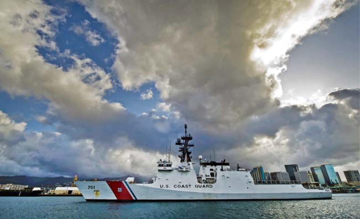 Coast Guard cutter Waesche (WMSL-751) pulls into Honolulu Harbor at Coast Guard Base Sand Island, Hawaii. The Waesche was there to resupply before joining the Pacific Command's 7th Fleet for training with United States partner nations in the Asia-Pacific region.