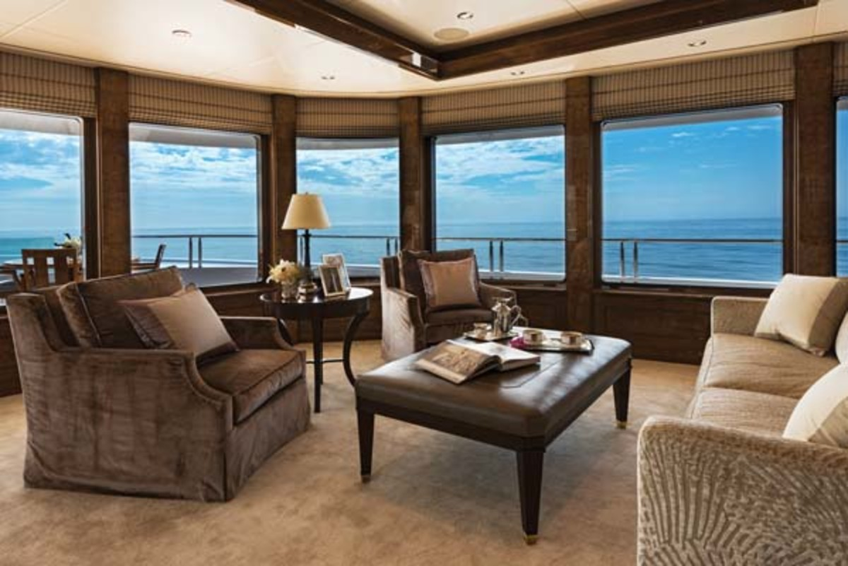 View windows brighten the owner's stateroom
