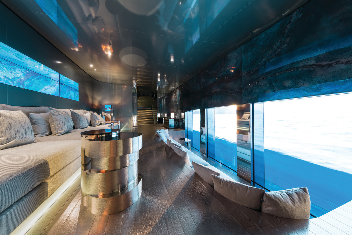 "Adding to Savannah's long list of unique and stimulating design features is an ""underwater"" room called the Nemo Lounge. A thick glass wall in the hull allows guests to settle in for a real-time view of what is transpiring both underwater and above. Stadium seating and a drop-down cinema screen can turn the outside view into a theater experience."