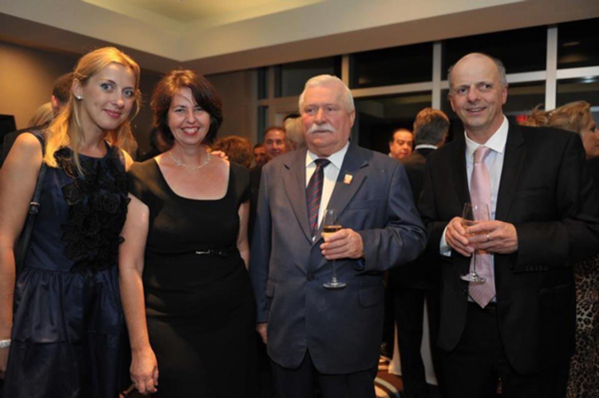 Sunreef's Ewa Starchuska, Yachts International's Editor-in-Chief Cecile Gauert, Lech Walesa, and Sunreef's Francis Lapp