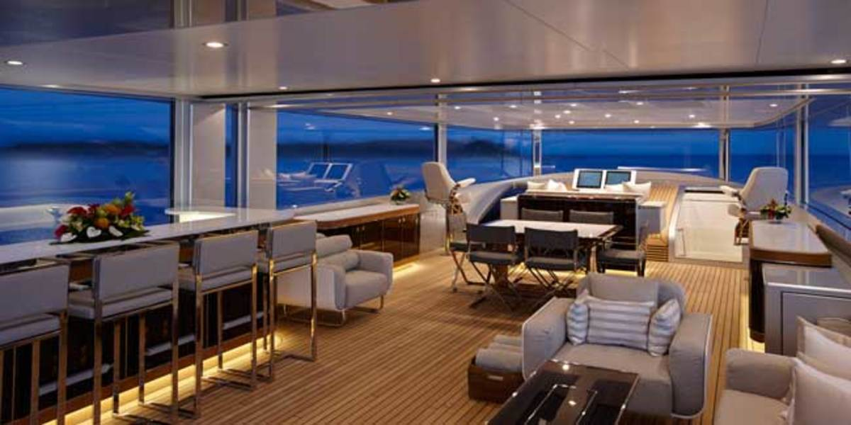 The flybridge on Feadship's 152-foot COMO