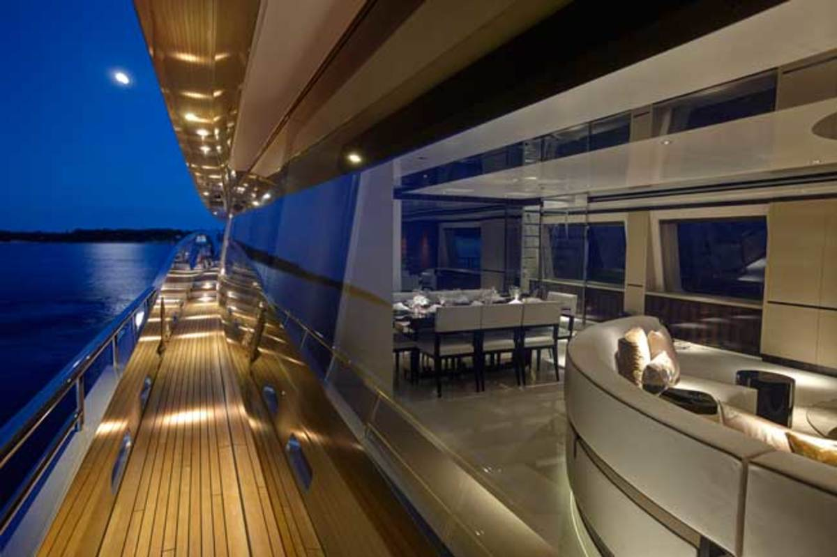 Feadship's 152-foot COMO at night