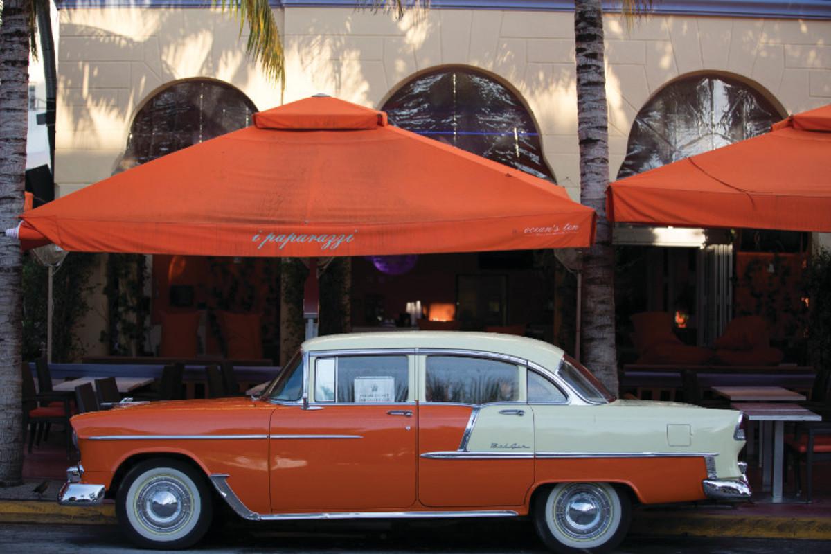 South-Beach-Ocean-Drive-I-Paparazzi-Restaurant-Orange-Car-1-WS
