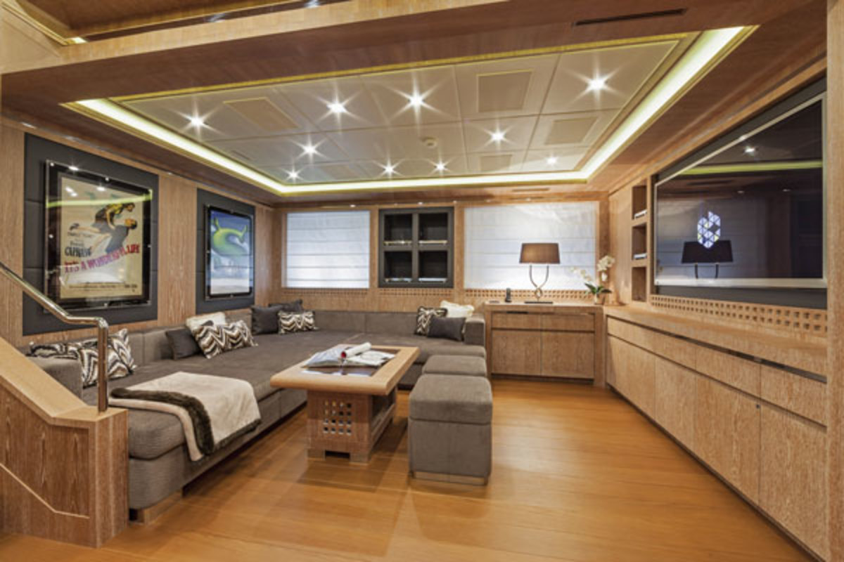 Credit - Alberto Cocchi; the lower-deck den doubles as a family room