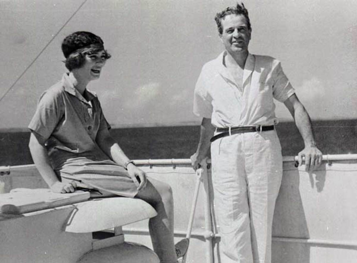 The captain enjoying life with his daughter, Consuelo, on board Alva.