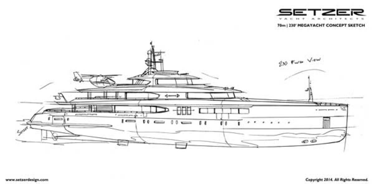 A sketch of the largest concept yacht, at 230 feet, in Setzer Yacht Architect's New American Motoryachts fleet.