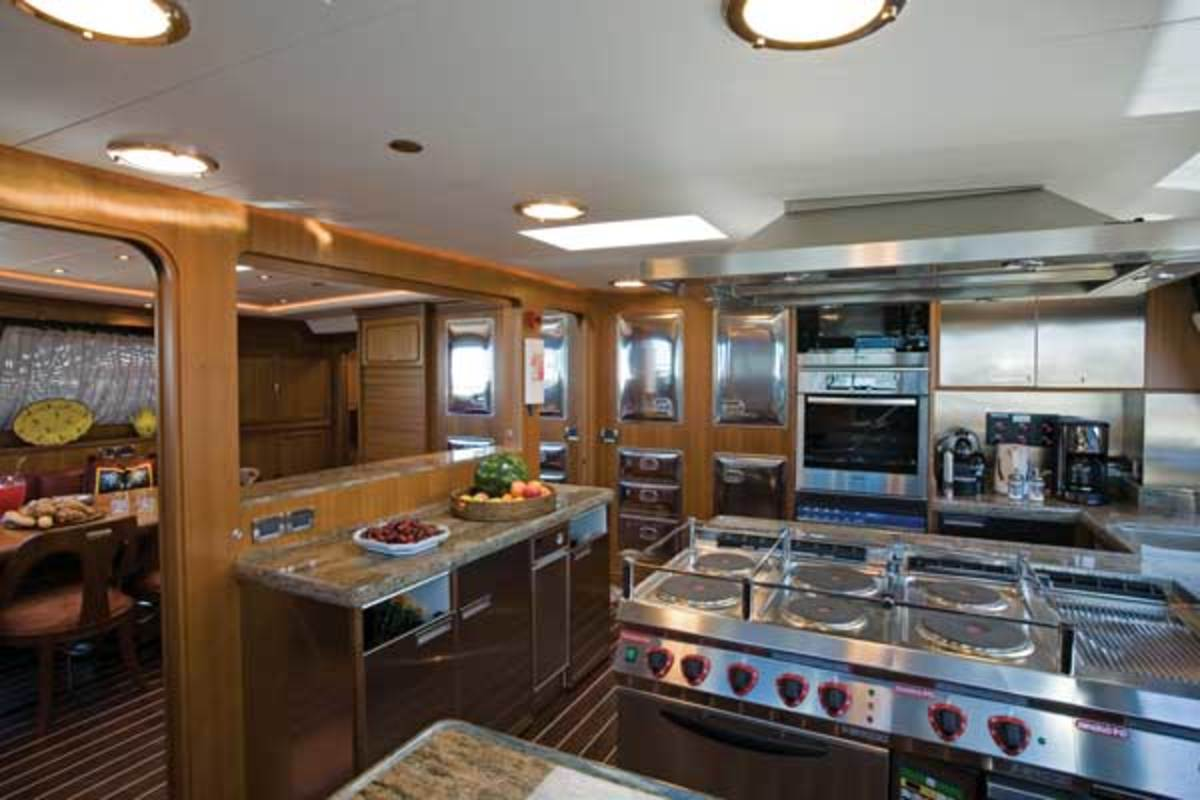 The 171-foot Perini Navi ketch Tamsen has a vast galley-dinette on the forward main deck, unique on a sailing yacht. It reflects how the owner's family likes to use the boat.