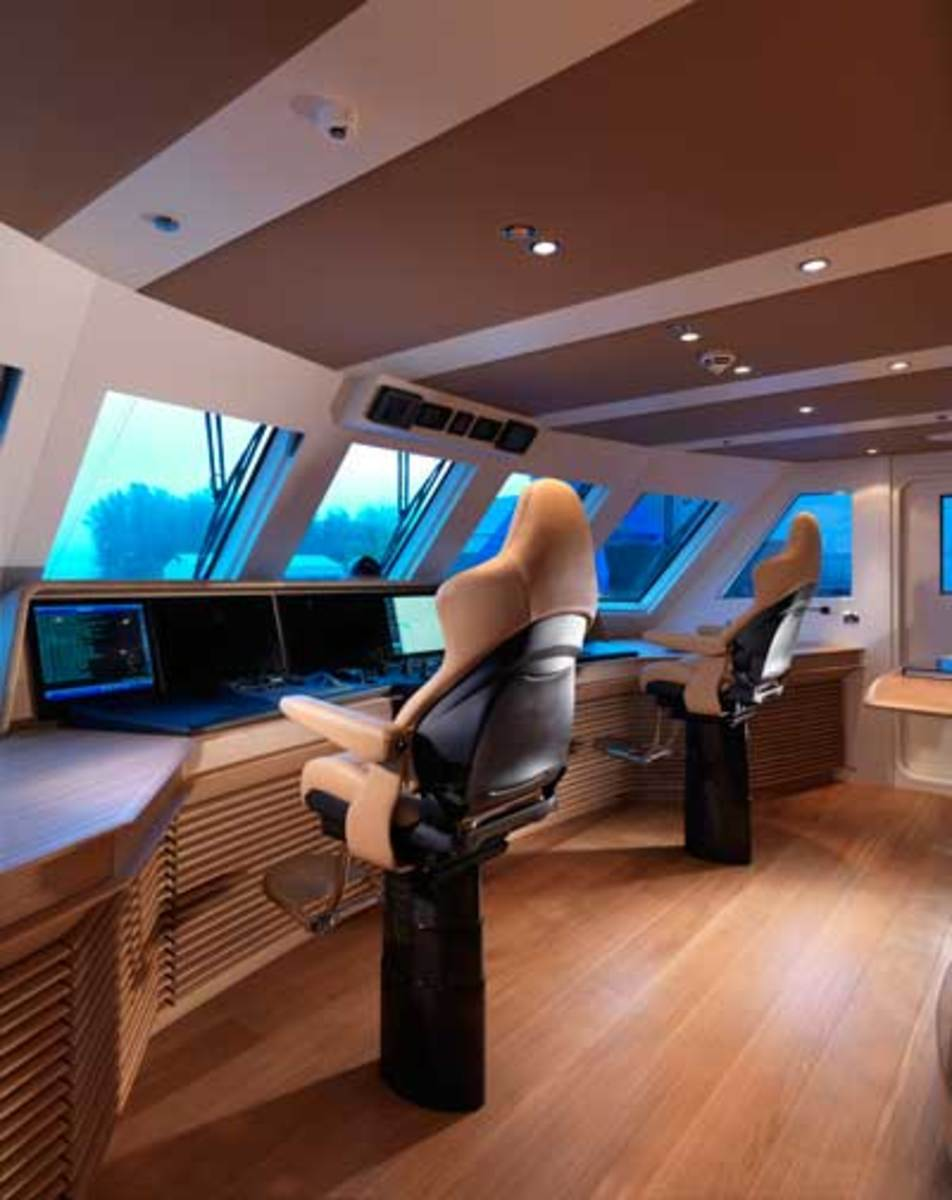 The wheelhouse on Moonen's 138-foot Sofia