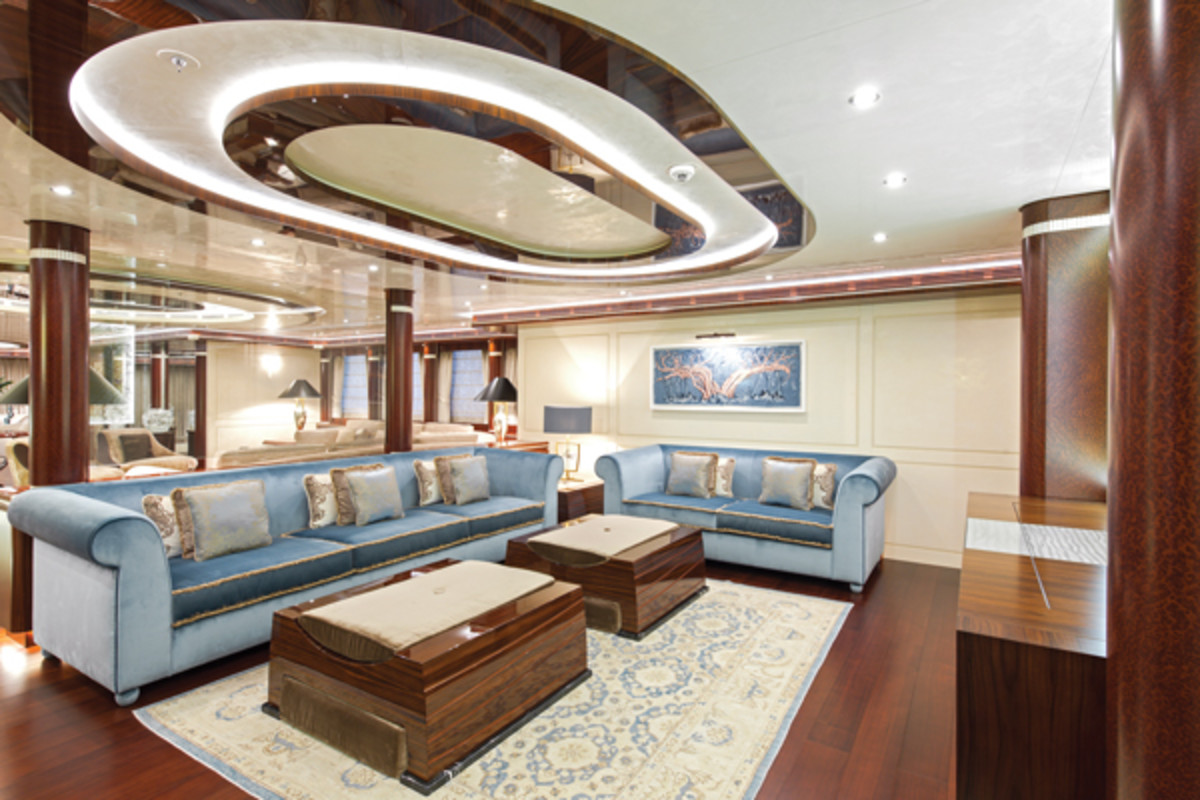 The upper-deck salon on Lurssen's Quattroelle