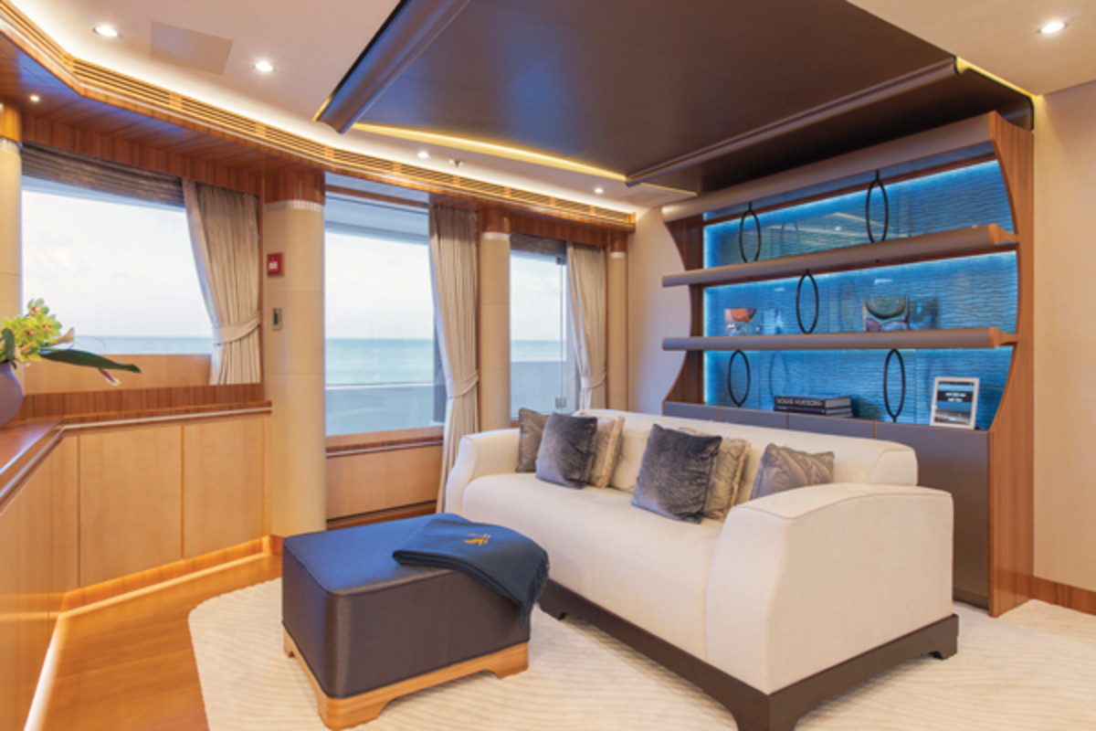 The owner's suite viewed from the port side on Lurssen's Quattroelle