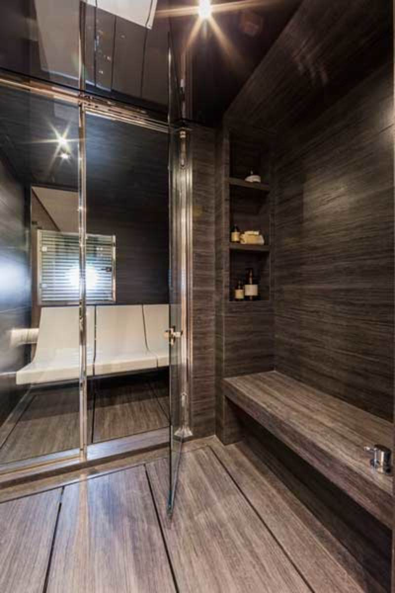 The head in the master has a large shower room and an adjacent separate sauna.