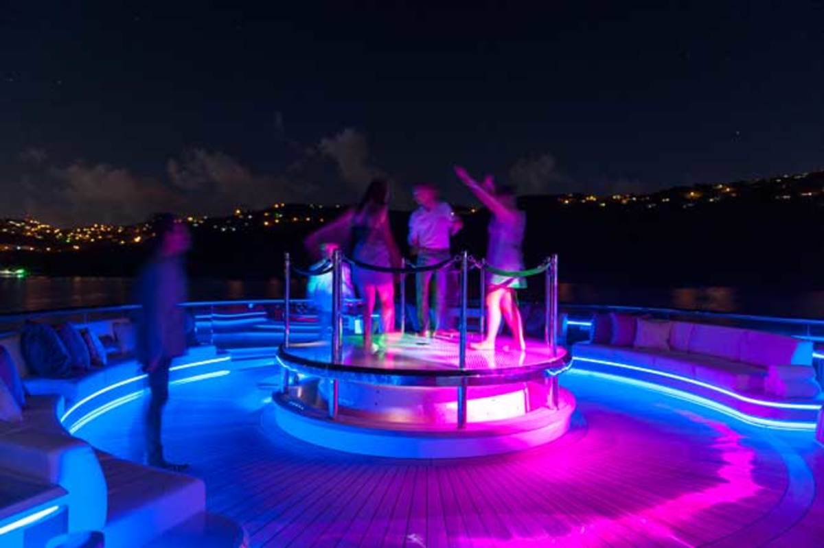 The hot tub on Solandge's sundeck doubles as a disco dance floor.