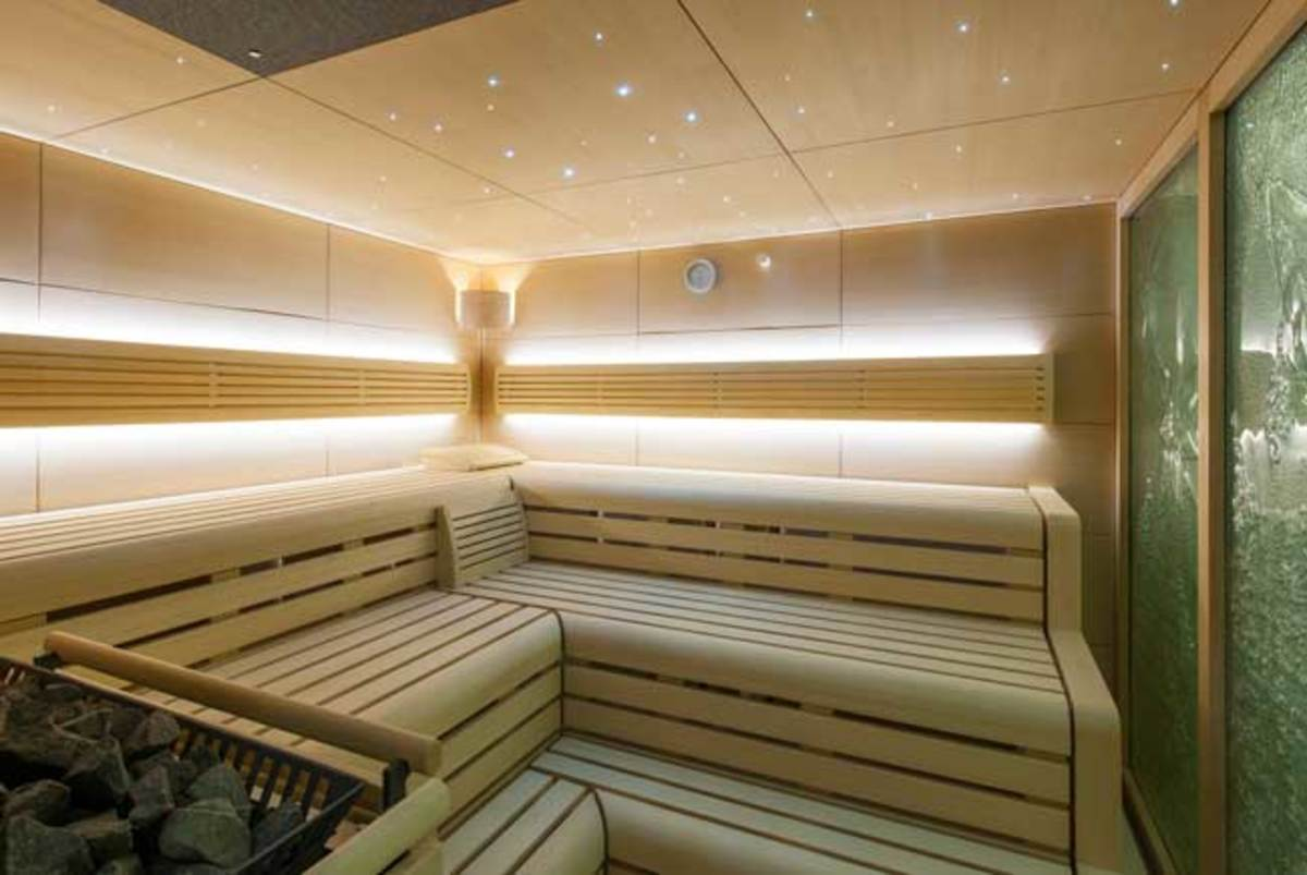 The beach club sauna on board Lurssen's Solandge