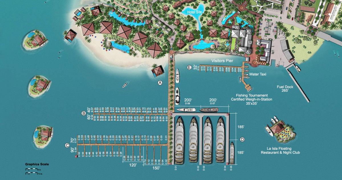 Site plan of the Marina Village at Golfito.
