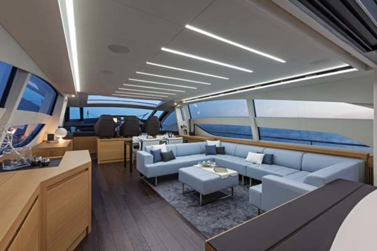 The 82's deck salon, its low-height furnishings ensuring great views all around. The galley is down below.