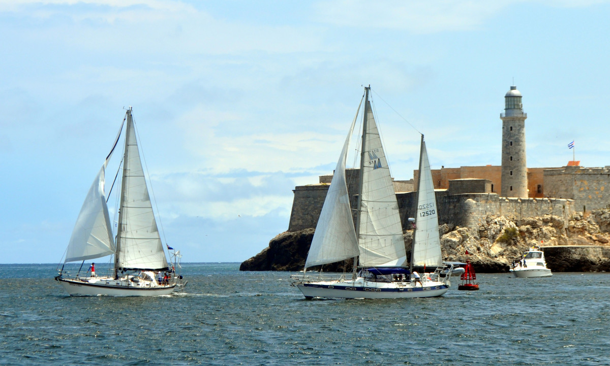 Sailing past El Moro, the iconic lighthouse and fortress at the entrance to Havana Harbor.