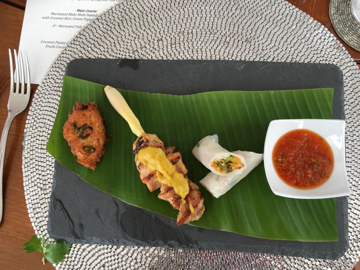 lemongrass chicken satay tasting plate chef kdn lyne