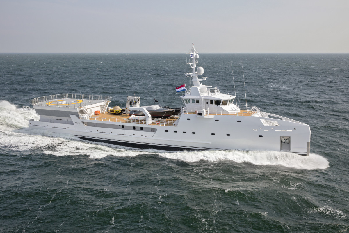 Damen's new 227-foot yacht support vessel Game Changer