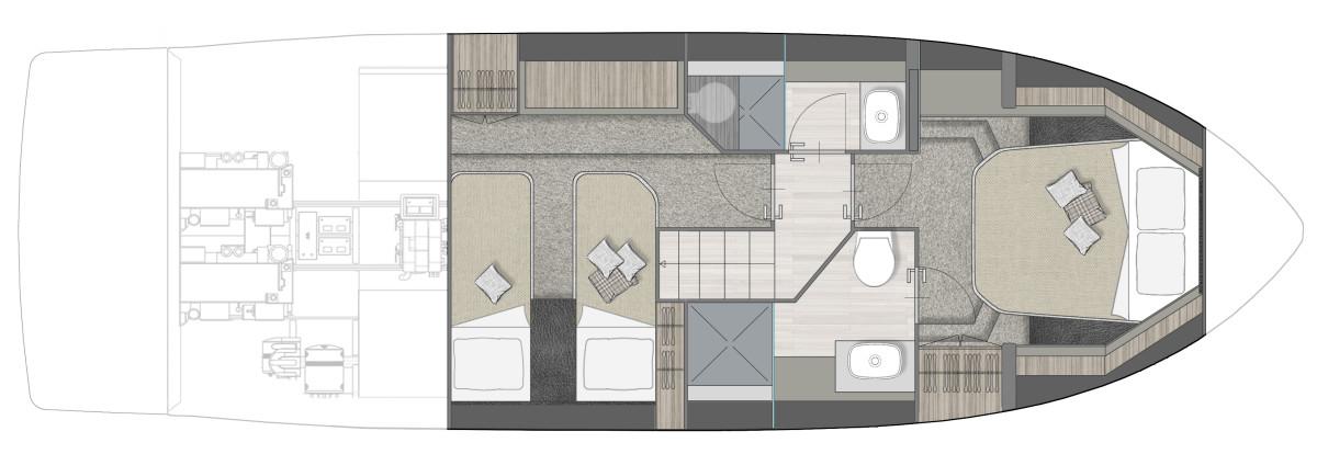 Cranchi XT 36 - two cabin layout