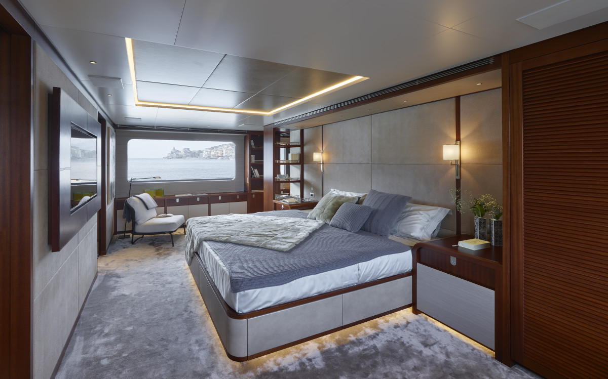 Moka's master stateroom is forward on the main deck. There is space for six staterooms down below, or in Moka's case, five, plus a gym.