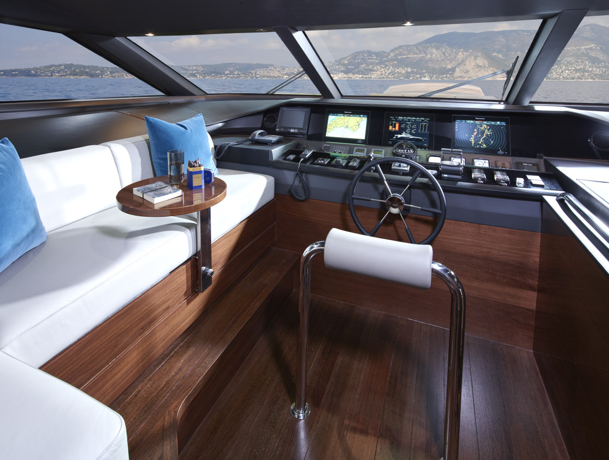 A raised pilothouse and a main-deck master stateroom with skylights set this yacht apart from the Princess 98 it replaces.