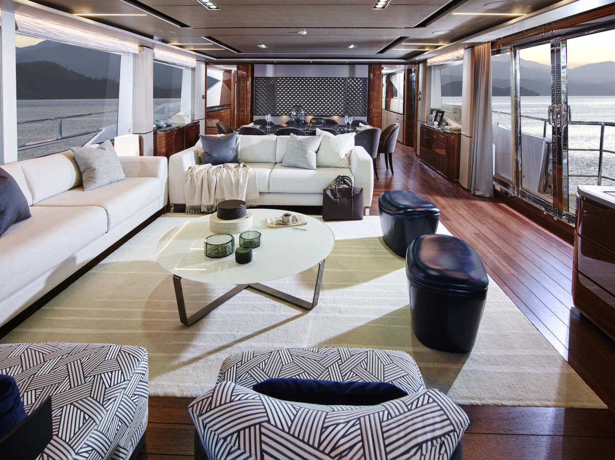 Princess Yachts International creates and manufactures the 30M's furniture in-house.