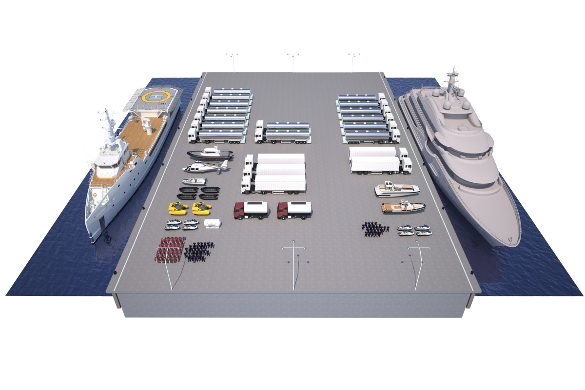 This rendering from Damen shows the amount of fuel, supplies, toys and more that a luxury support vessel (left) can carry compared with a traditional yacht (right).