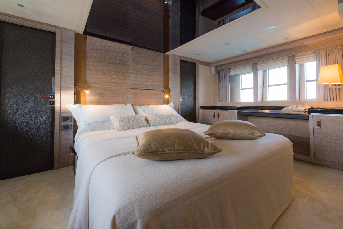 The full-beam master stateroom is a plush example of the big living spaces on board.
