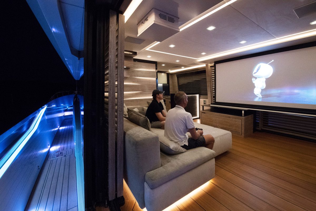 The 86-inch projector screen is perhaps best enjoyed with an evening breeze.