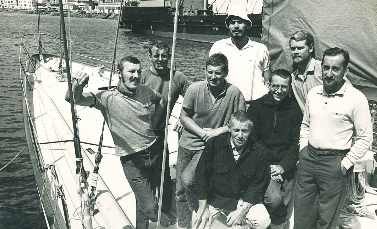 The S/Y Ondine crew in more tranquil times—seven hot-shot sailors and Captain Sven (kneeling, bottom center). The author is third from left.