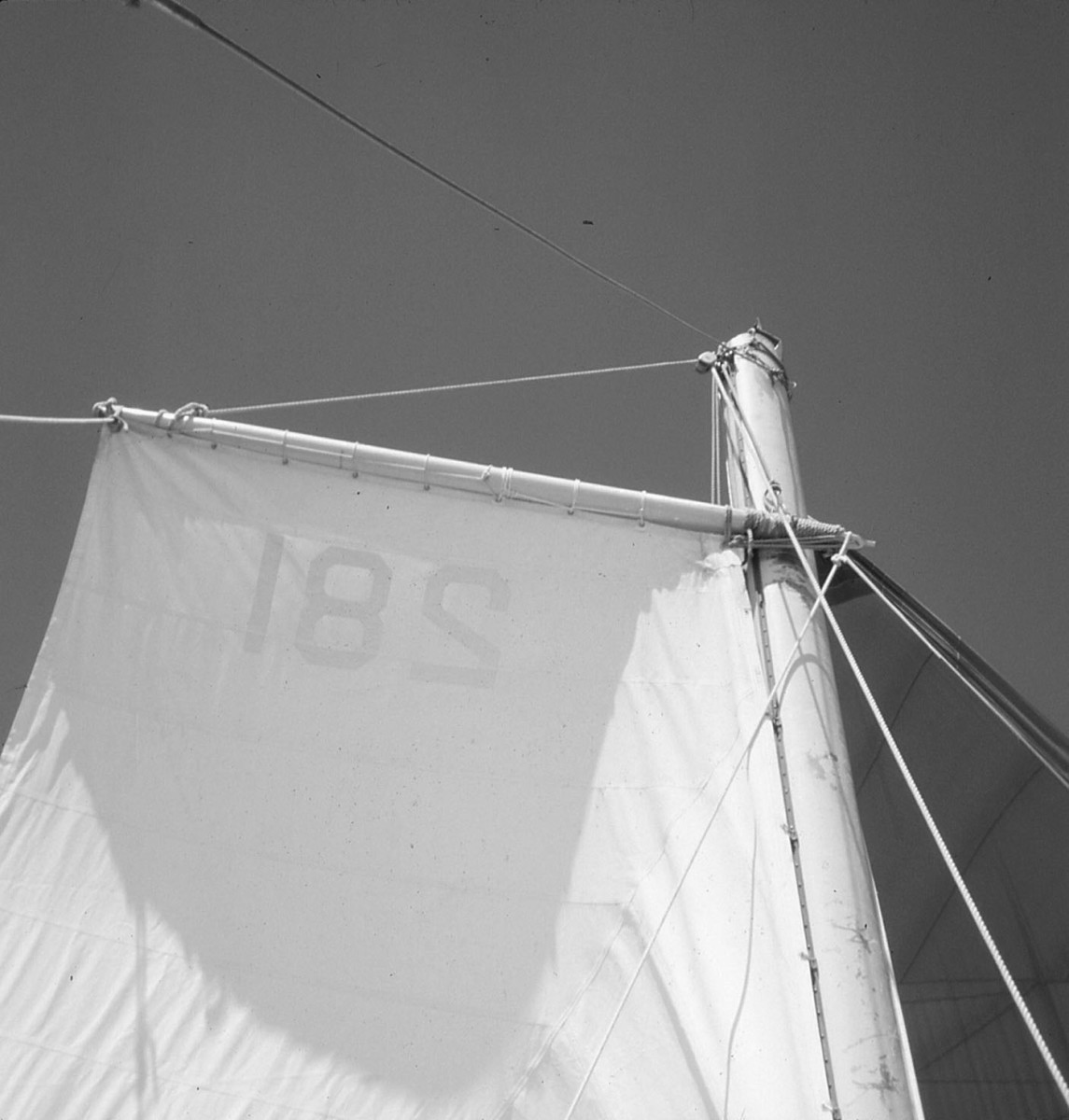 The jury-rigged mainsail working as a gaff rig using the spinnaker pole.