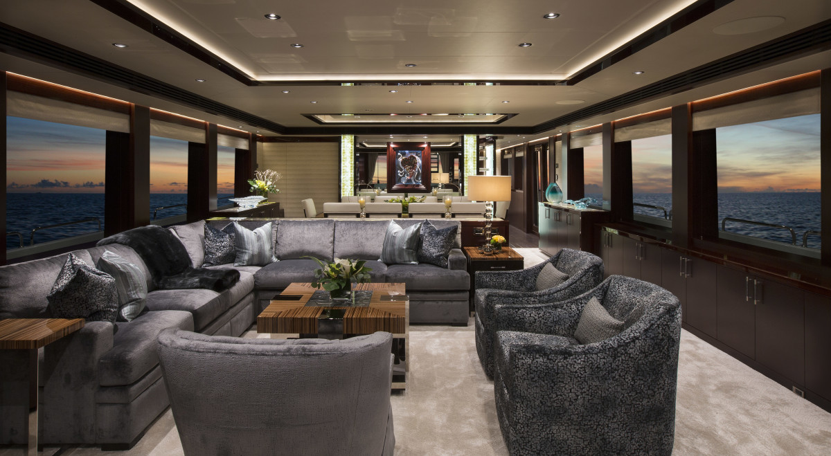 Being a semi-custom yacht, the Westport 125 allows owners to personalize the decor down to handrails and hardware. They can move nonstructural bulkheads, though Black Gold's owner kept the salon and dining area traditional.