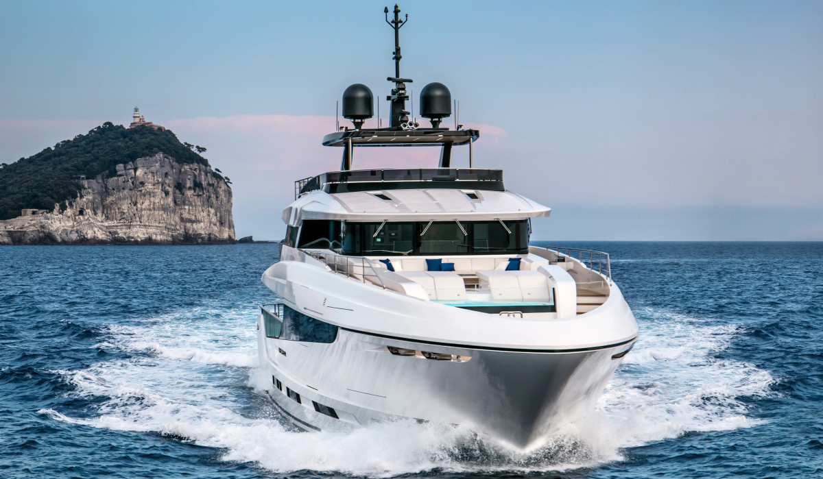 The Mangusta Oceano 42 has all the amenities of a larger vessel in a 138-footer, including an owner's private balcony and wading pool on the foredeck.