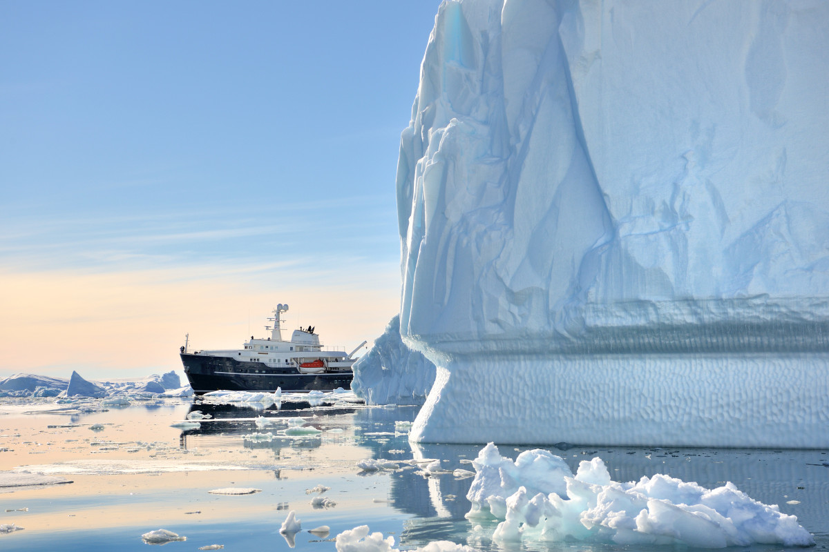 The remote, icy waters of Antarctica are a favorite destination of 254-foot charter yacht M/Y Legend.