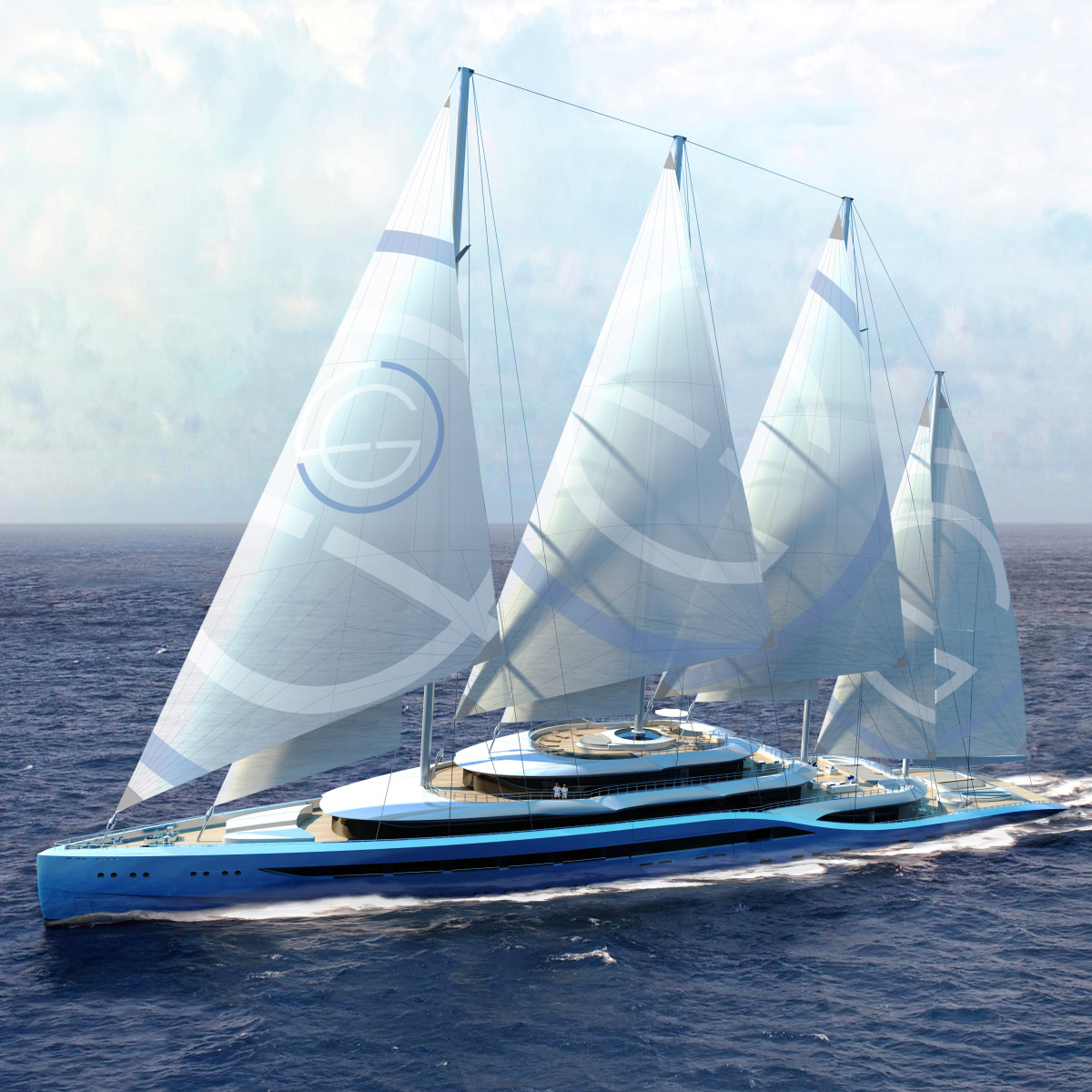 Atlas, the 360-foot mega-motorsailer concept from Laurent Giles Naval Architects and H2 Yacht Design.