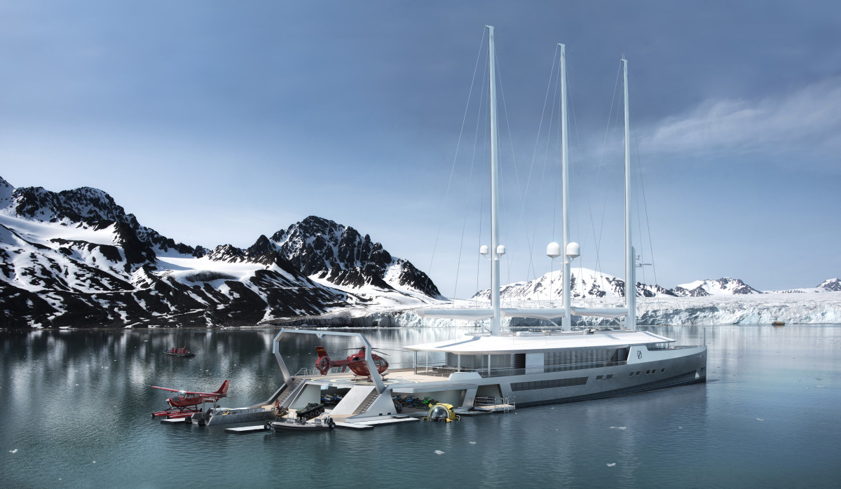 Norse is a 262-foot sail-assisted explorer concept by  Oliver Stacey that draws on auxiliary wind power for passagemaking.