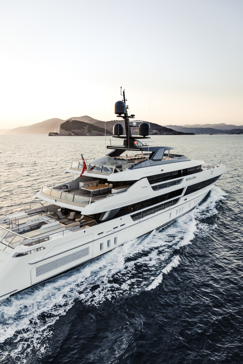 The yacht is conceived with alfresco living in mind, so in addition to the customary social areas on the aft decks, there is lounging space and a dinette forward on the upper deck.