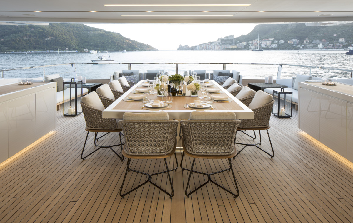 M/Y Seven Sins overturns the traditional layout by taking the dining room, normally on the main deck, and relocating it to the upper deck with dining facilities both inside and outside