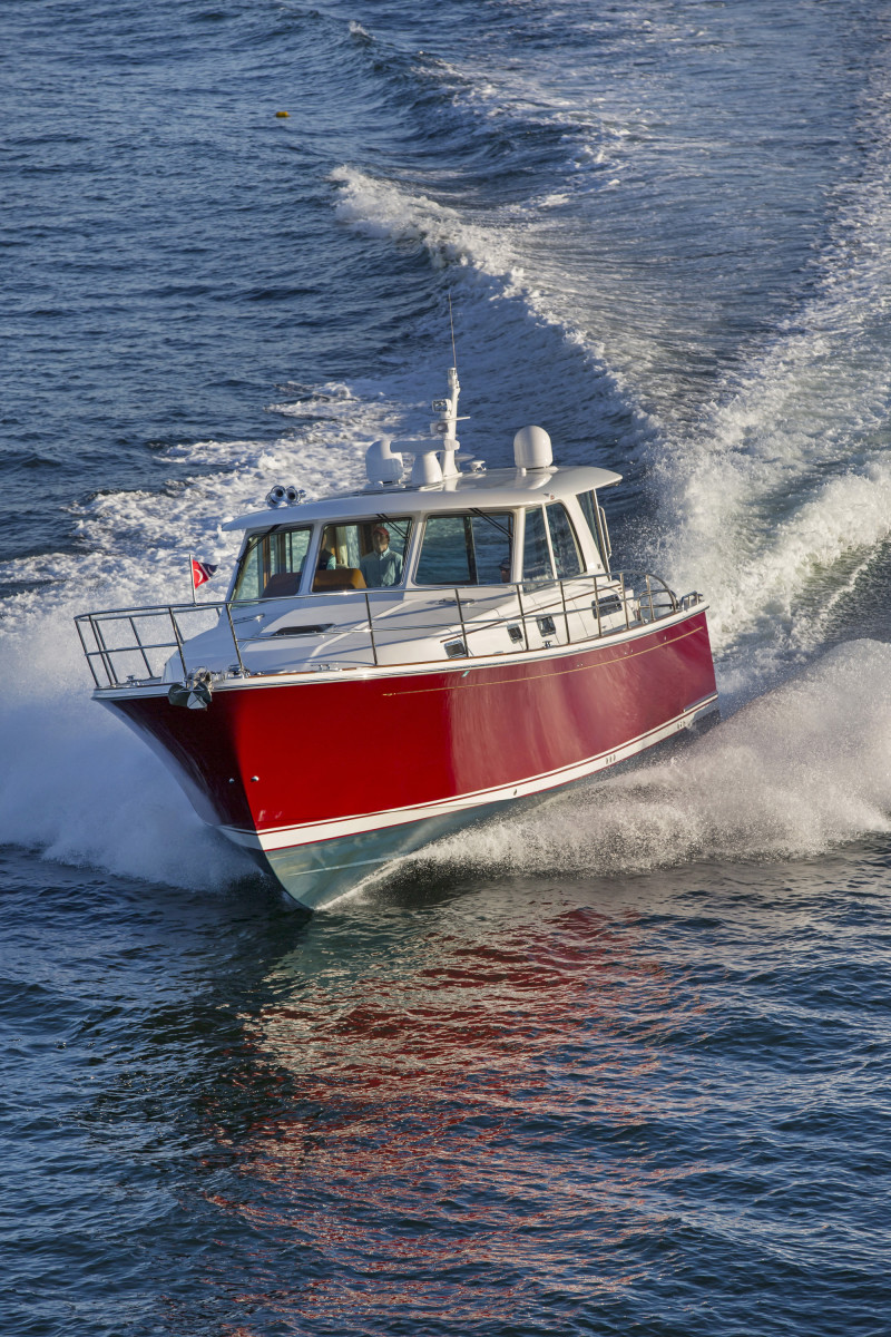 The Sabre 45 Salon Express rides on a warped-V hull designed for comfort in a seaway, speed and fuel economy.