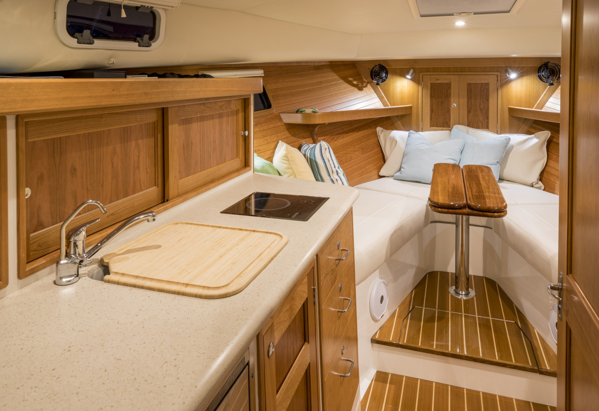 The yacht has attractive, comfortable accommodations for a couple for a weekend or longer aboard.