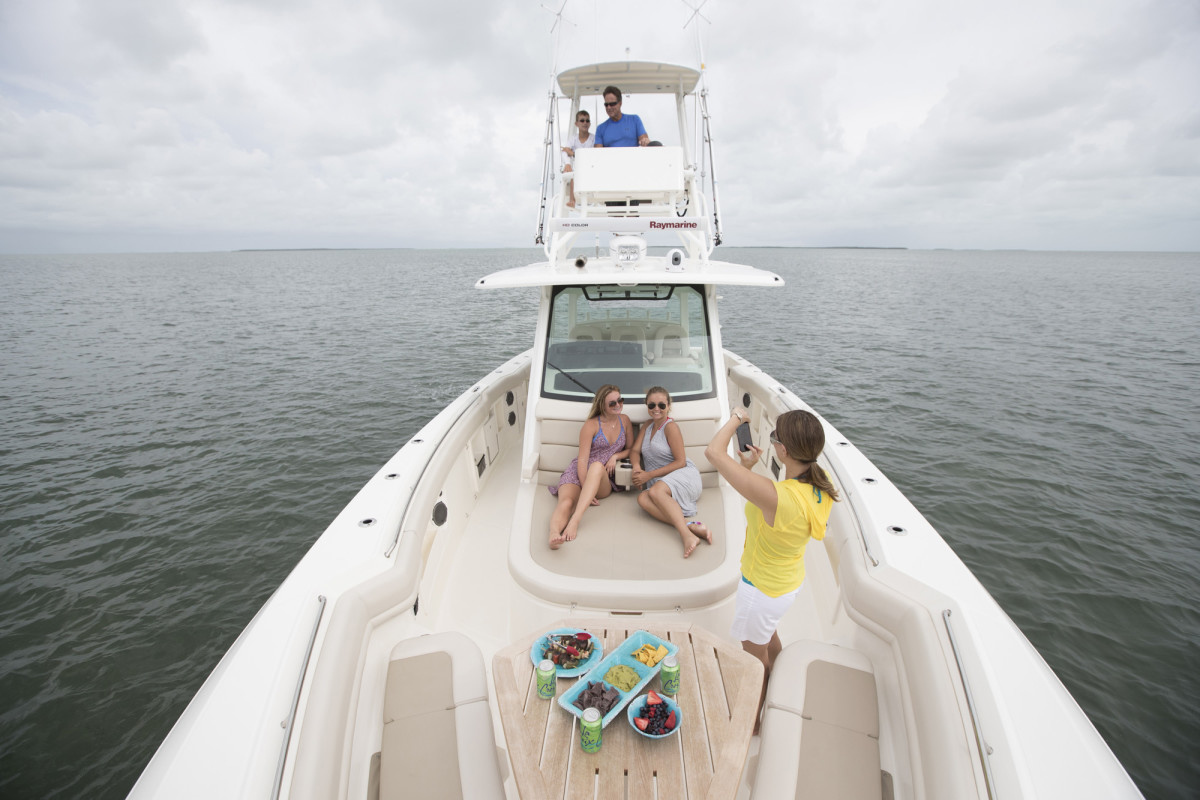 The Boston Whaler 380 Outrage has smart features for fishing and cruising in comfort.