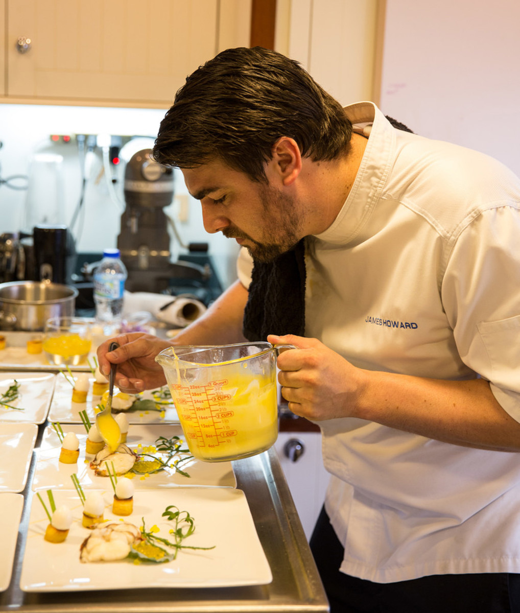 Chef James Howard competes in the annual chefs' competition at the Antigua Charter Yacht Show.