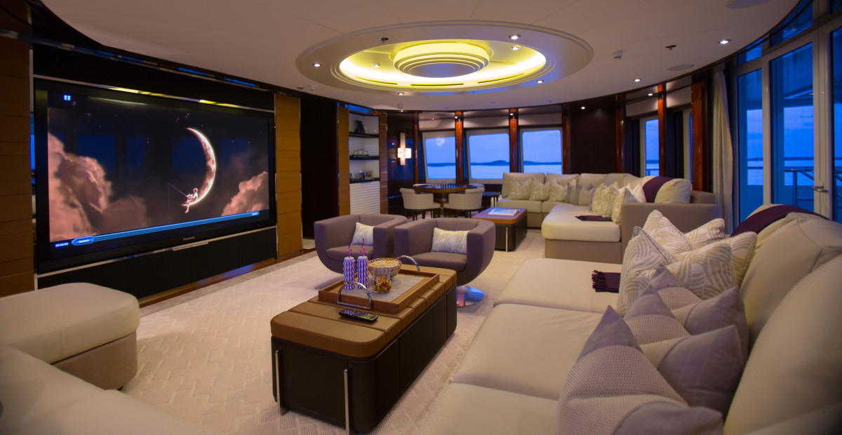 With a 103-inch plasma screen and booming surround sound in the sky lounge, Dream takes movie theme nights to a whole new level. (photo by Quin Bisset)
