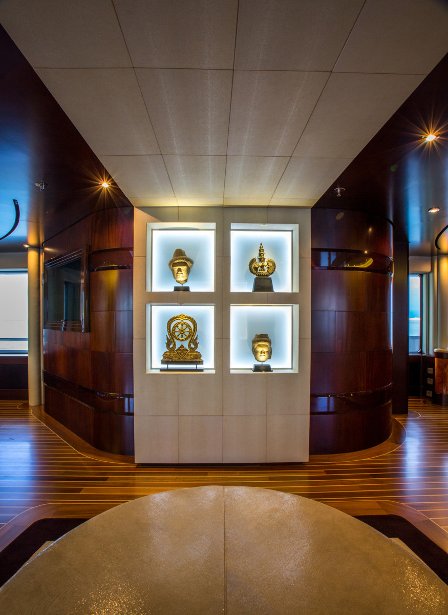 Dream's Zen-inspired interior is heavily rooted in Asian culture, a particular favorite of the yacht's well-traveled owner, who worked closely with Bannenberg & Rowell on the interior restyling. (photo by Quin Bisset)