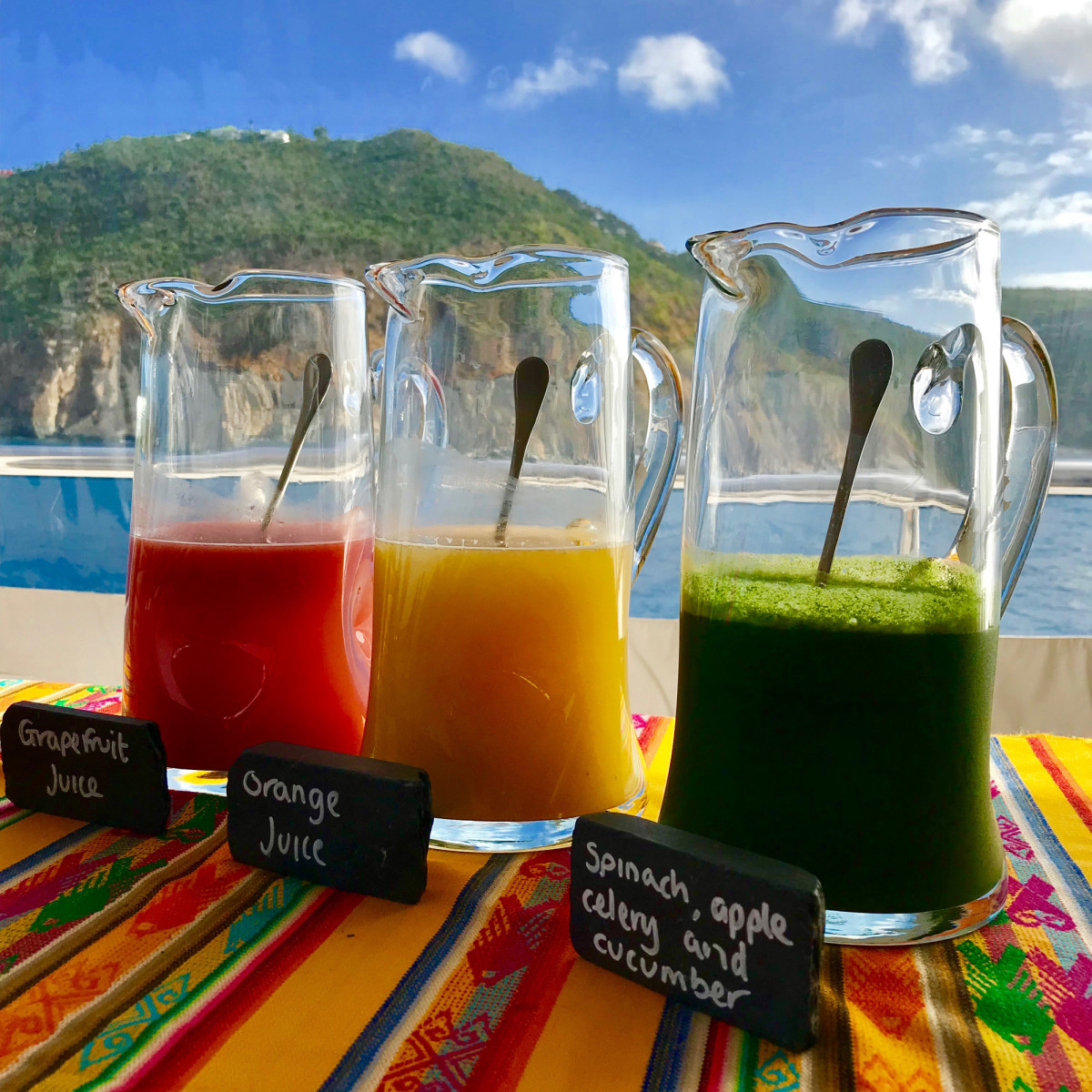 Fresh-made natural juices are a breakfast tradition aboard Dream. (photo by Andrew Parkinson)