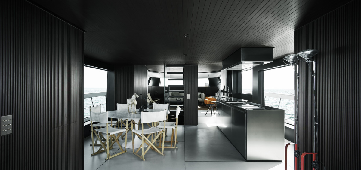 Available in a choice of layouts, the European version is based on an open-space main deck arrangement with interior design by Piero Lissoni and free-standing furniture.