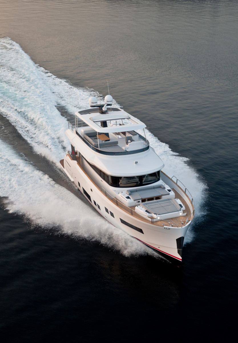 The Sirena 64 has megayacht-style features and a hull designed for economical and fast cruising.