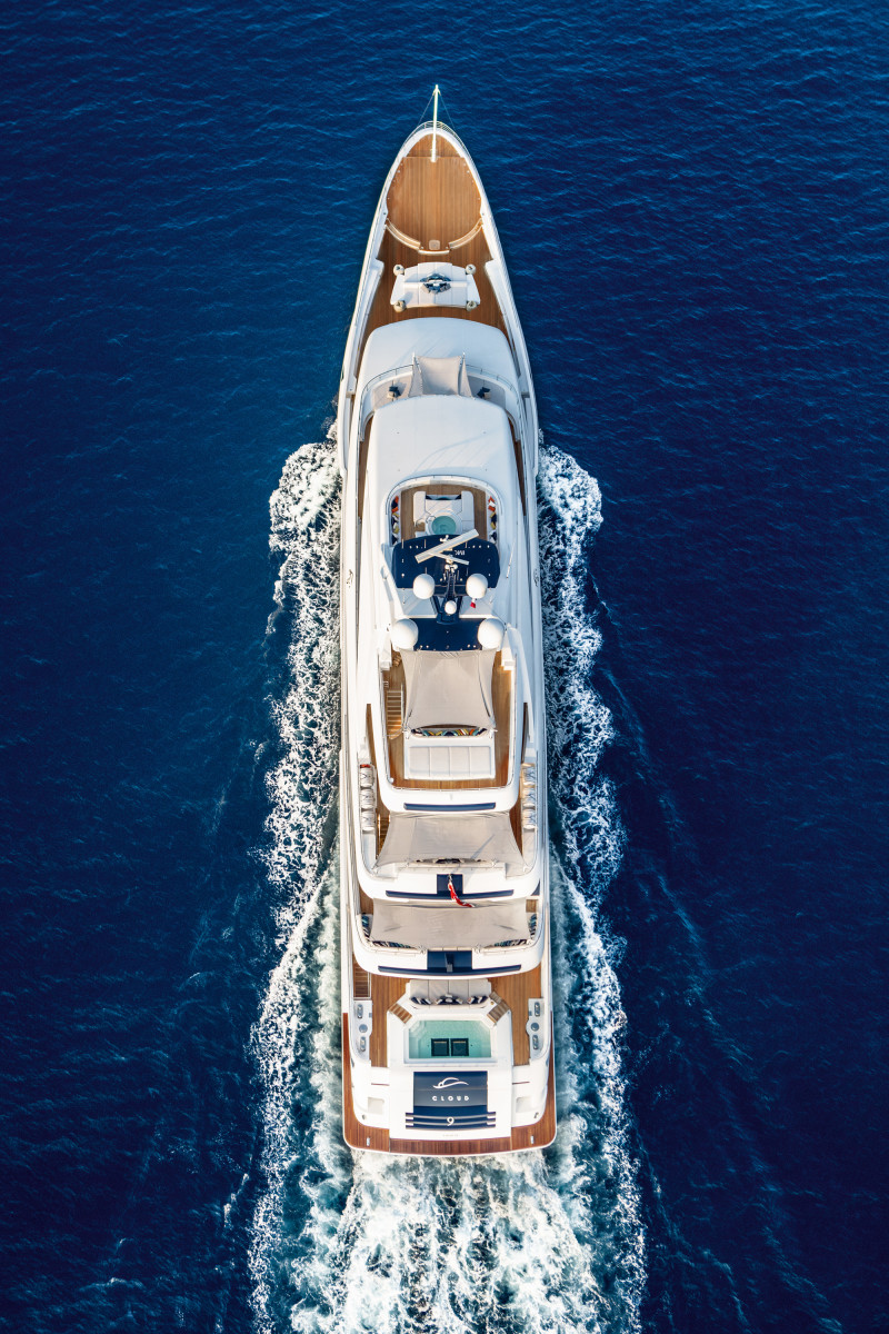 A bird's-eye view of Cloud 9 shows the spa pool forward and swimming pool aft.
