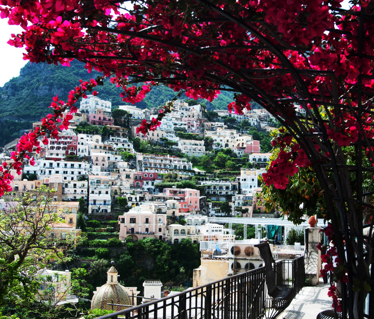 A view of Positano, Italy, where nature's beauty meets classical architecture.
