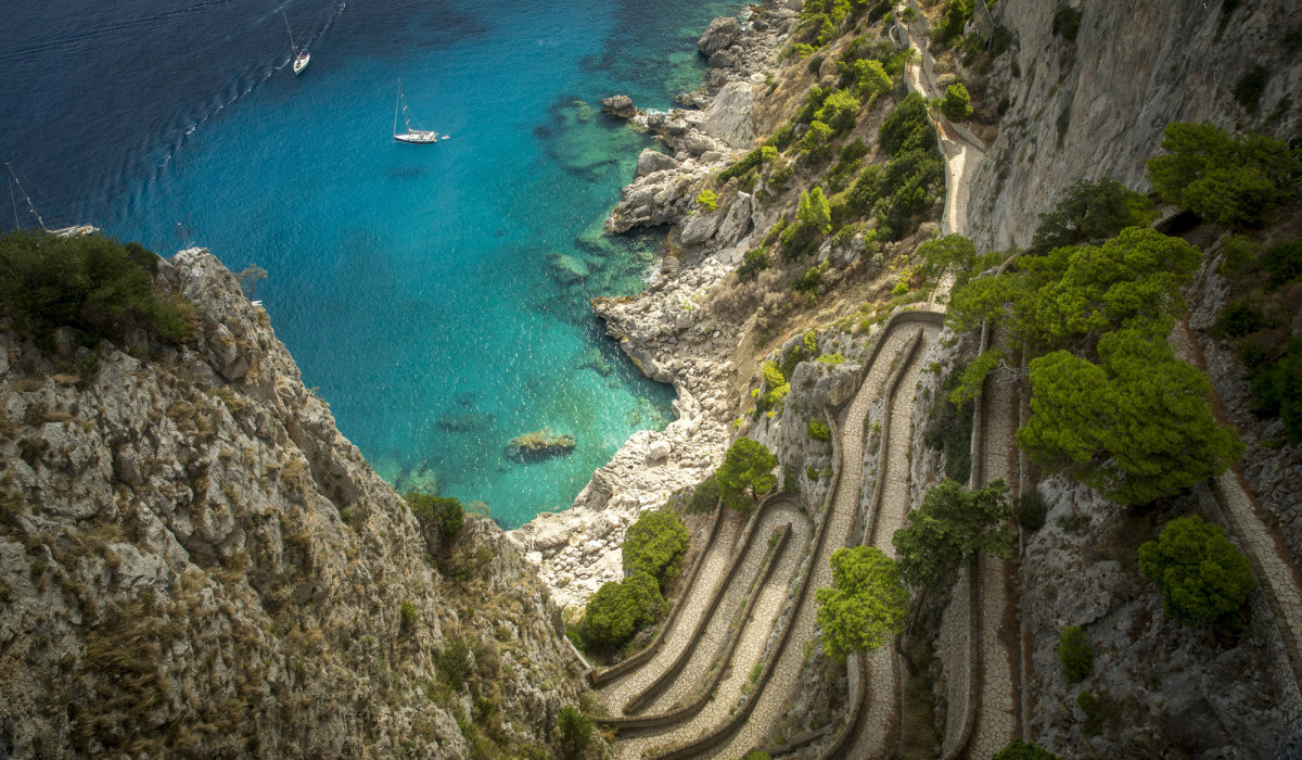 Via Krupp on the island of Capri, Italy, is a paved switchback walking path built in the early 1900s.